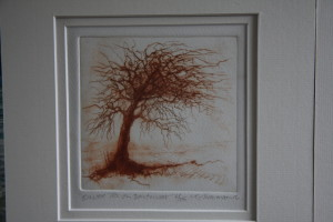 Blasted tree, Dartmoor, Dry Point