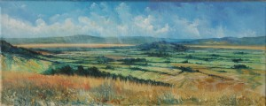 p2045-hot-morning-across-the-severn-from-selsley-30-x-15-cms-canvas